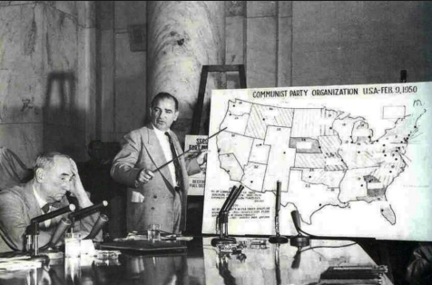 sen. joe mccarthy demonstrates the communist threat