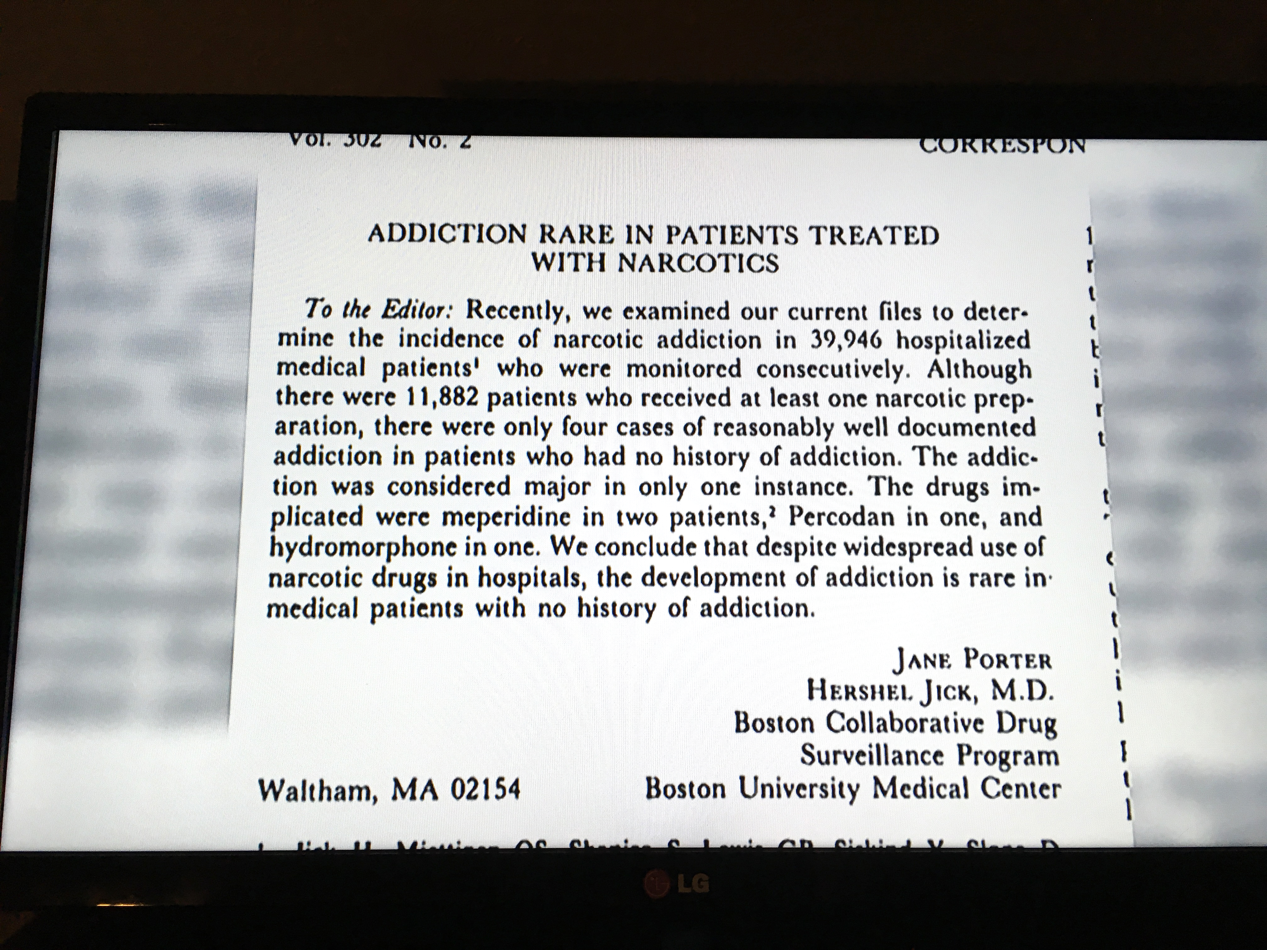 Classic addiction study 'paragraph'
